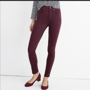 Madewell Skinny Ankle Modal Pants - Maroon Size 28